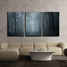 "Wall26 - Night in a Dark Forest - Canvas Art Wall Decor - 24""x36""x3 Panels"