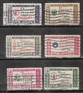 AMERICAN CREDO SERIES #1139-1144 Used US 1960-61 Commemorative 4c Stamp Set