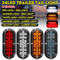 LED Flush Mount Oval Rear Tail Brake Turn Signal Light Indicator Trailer