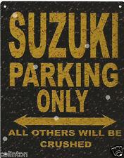 SUZUKI PARKING METAL SIGN RUSTIC VINTAGE STYLE 8x10in 20x25cm garage