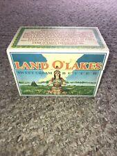 Vintage Land O'Lakes Sweet Cream Butter Recipe Metal Box Indian Maiden NICE