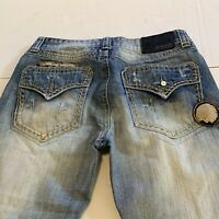 CJ Black Premium Boot Mens Jeans Distressed Ripped Look  Patches 32 x 28.5