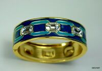 Anne Klein Hinged Cuff Bracelet Blue Green Enamel Rhinestones Runway