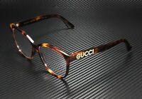 GUCCI GG0421O 002 Rectangular Square Havana Demo Lens 55 mm Women's Eyeglasses