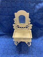 White Metal Vintage Miniature Doll House Furniture Dresser