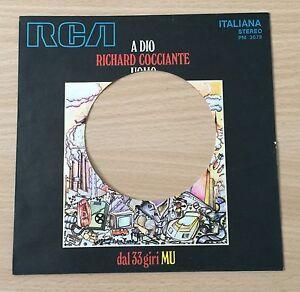 "SOLO COPERTINA FORATA RARO 7"" 45 GIRI RICHARD COCCIANTE A DIO UOMO 1972 RCA MU"