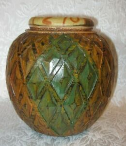 """Hand Carved Wooden Vase from Indonesia ~ Brown and Green ~ 8.25"""" Tall"""