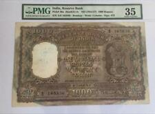 India 1954-57 1000 Rupees Pick 46a B.Ramarau PMG Graded VF 35 (Rare)