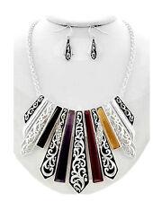 Set Halskette Ohrringe Schmuckset Kette Collier Emaille Versilbert Paris 1A Lila