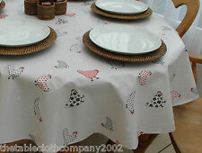 140 x 300cm Oval Wipe Clean PVC Tablecloth - Chickens