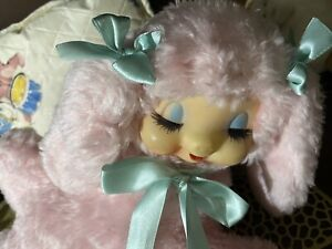 Vintage Rubber Face Plush Sleeping-Head  Sweet Pink Sheep *Reserved list