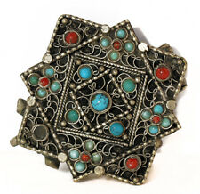 Antique Buddhist woman's gau pendant, silver with turquoise, coral [11587]