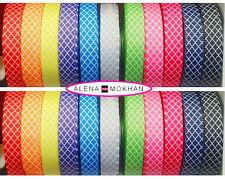 "5 yards 7/8"" Colored Quatrefoil Tile Printed Grosgrain Ribbon U Pick Color"