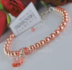 925 STERLING SILVER BRACELET CRYSTALS FROM SWAROVSKI® PEARL & HEART ROSE PEACH