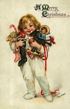 CHRISTMAS, LITTLE GIRL, ARMS FILLED WITH TOYS AND CANDY, BRUNDAGE, FRIDGE MAGNET