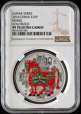 NGC PF70 China 2014 Lunar Horse Zodiac Year Colorized Silver Coin 1oz 10 Yuan
