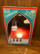 Advertised in LIFE - Illuminated Plastic Church Lamp in Box VINTAGE