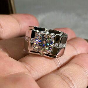 Men's Band Engagement Wedding Expensive Ring 2.5 Ct Round Diamond 14K White Gold
