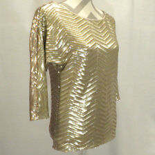 Gold Silver Sequin Pullover Knit Lined Top WHITE HOUSE BLACK MARKET Small