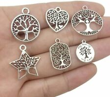 6 Tree of Life Charms Pendants Antique Silver Tone Tree Findings Assorted Lot
