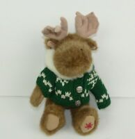 Boyds Bears Small Moose Plush w/ Green Hooded Sweater Stuffed Animal Toy Holiday