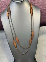 "Vintage 1960's s 54"" Brown Wood Link Boho Beaded Long Sweater Necklace"