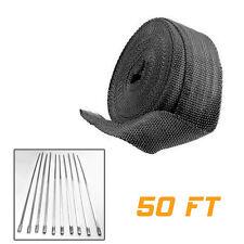 1x 2″ 50Ft Black Fiberglass Exhaust Header Pipe Heat Wrap Tape w/ 10 Ties Kit