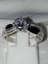 925 STERLING SILVER RHODIUM PLATED ENGAGEMENT RING RHODIUM PLATED SZ L USA 6