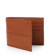 COLE HAAN WALLET PEBBLED LEATHER BILLFOLD WALLET IN COGNAC NEW IN BOX