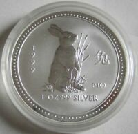 Australien 1 Dollar 1999 Lunar I Hase 1 Oz Silber
