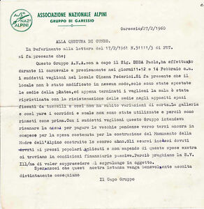 LETTERA ASS.NE ALPINI GARESSIO VEGLIONE AL CINEMA FEDERICI CUNEO 1960 20-25