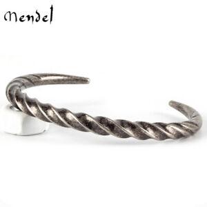 MENDEL 7 Inch Stainless Steel Mens Vintage Mobius Horn Cuff Bangle Bracelet Men