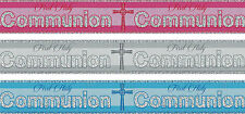 FIRST HOLY COMMUNION BANNERS PINK BLUE SILVER COMMUNION DECORATIONS (PA)