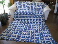 Vintage Crochet 3D Rosette Delft Blue Fringe King Queen Full Bedspread 80x122