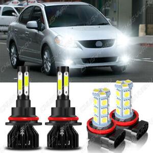 For Suzuki SX4 2007-2013 4xCombo 9007 & H11 LED Headlight+Fog Light White Bulbs