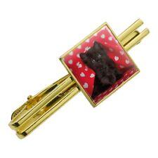 Black Ragdoll Tiffany Cat Hearts Love Square Tie Bar Clip Clasp Silver or Gold