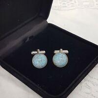 RETRO Turquoise Colour Domed Mens Cufflinks Retro Gift Blue Stone Silver Tone