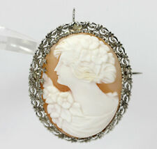 "gold filigree carved shell 1 5/16""! Antique cameo pin brooch pendant 14K white"
