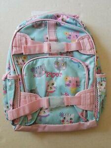 Pottery Barn Kids Mackenzie Small Backpack Pink Princess Kitty Mono Piper New