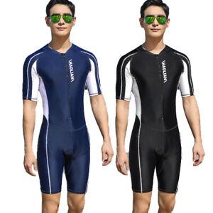 Men's One Piece Swimsuit Short Sleeve Rash Guards Swimwear Surf Bathing Jumpsuit