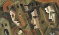 """Russischer Realist Expressionist Öl Leinwand """"Städte und Jahre"""" 60x35 cm"""