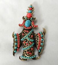 Vintage Super Rare Boucher Siamese Dancer Turquoise & Coral Glass Beads