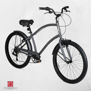 Mens Cruiser Bike 26 Inch Bicycle Lightweight Aluminum Frame Shimano 7 Speeds