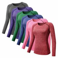 Women Compression Base Layer Top Quick Dry Long Sleeve Yoga Gym Sports T-Shirt