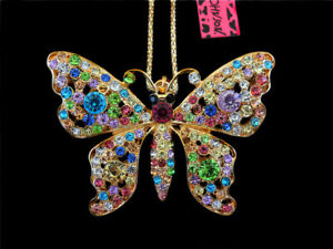 Betsey Johnson Rhinestone AB Crystyal Butterfly Pendant Sweater Chain Necklace