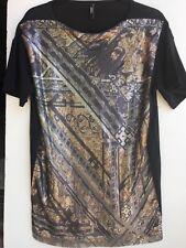 Versus Versace Women's shirt Black Cotton T-Shirt sequin SX-M
