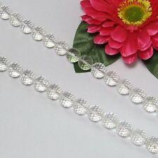 Blanc Cristal de Roche 12mm Ronde Facettes Perles 1 Fil