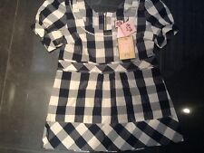 Juicy Couture New Small Blue & White Cotton & Silk Empire Blouse UK 6/ US 2 NWT
