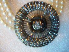 HEIDI DAUS Necklace BRILLIANCE & SPARKLE SWAROVSK CRYSTAL 3 Strand Faux Pearl