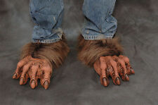 Brown Werewolf Beast Wolf Man Feet Adult Shoe Covers Latex Halloween Costume